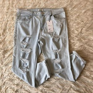 NWT light wash destroyed jeans